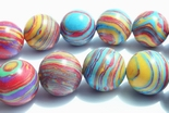 Large 10mm Sky-Blue & Fire-Red Calsilica Summer Beads