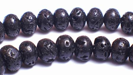 Volcanic Lava Rondel Beads - Unusual !